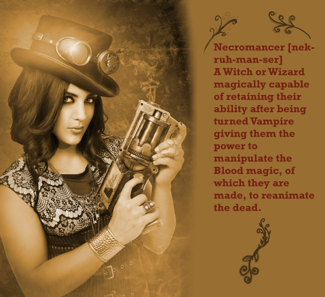 Dressed up woman gun in steampunk style
